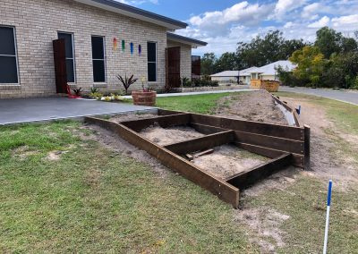 Hardwood Timber Retaining Wall + Landscaping Stairs - Blue Sky Yards Gympie