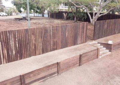 Hardwood Timber Fencing + Retaining Wall - Blue Sky Yards Gympie