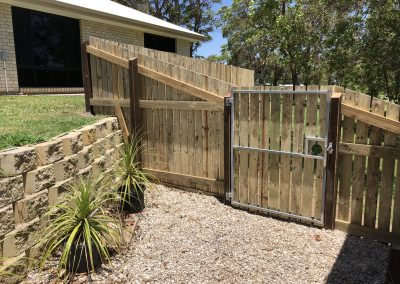 Pine Paling Fence, Gates on Sloping Block - Gympie Blue Sky Yards
